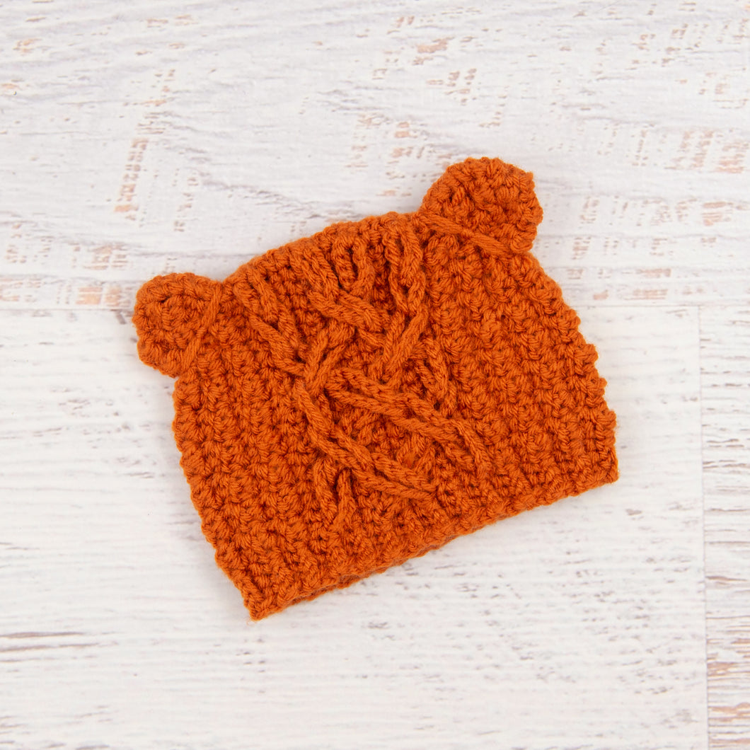 In-Stock 0-6 Month Little Cabled Bear in Orange