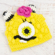 Load image into Gallery viewer, In-Stock 0-6 Month Cotton Little Monster in Banana Yellow with Hot Pink Flower.