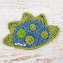 Load image into Gallery viewer, In-Stock 0-6 Month Dinosaur Hat in Dusty Blue with Dusty Green Spikes & Spots