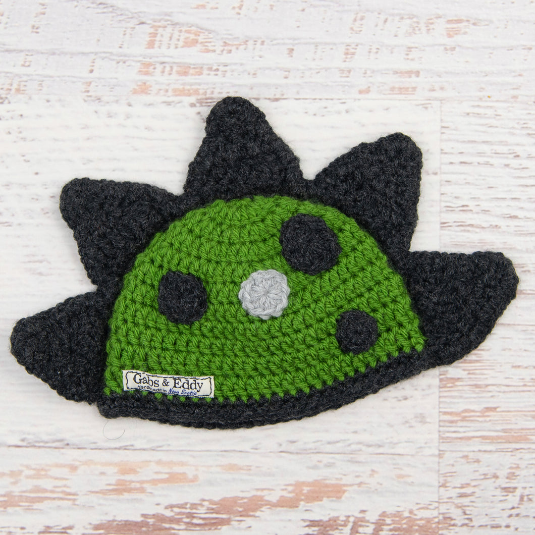 In-Stock 0-6 Month Dinosaur Hat in Kelly Green with Dark Grey Heather Spikes & Spots
