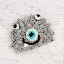 Load image into Gallery viewer, In-Stock Preemie Little Monster in Grey Marble with Aqua Marine Eye