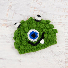 Load image into Gallery viewer, In-Stock 0-6 Month Little Monster in Kelly Green with Electric Blue Eye