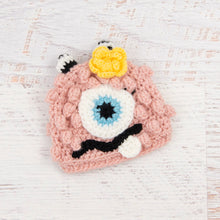 Load image into Gallery viewer, In-Stock 0-6 Month Little Monster in Pink with Baby Aqua Eye and Duckie Yellow Flower