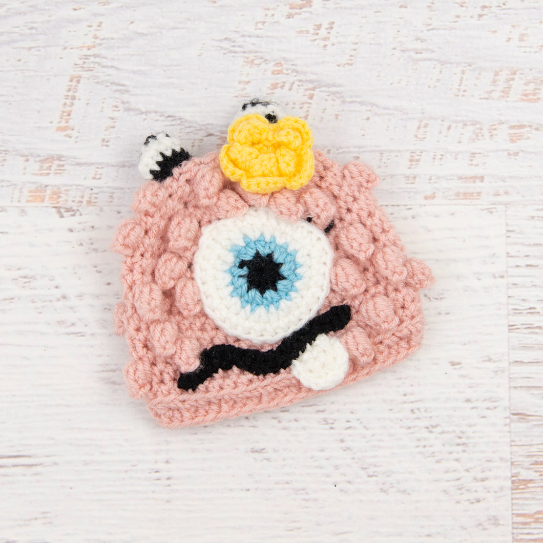 In-Stock 0-6 Month Little Monster in Pink with Baby Aqua Eye and Duckie Yellow Flower