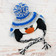 Load image into Gallery viewer, In-Stock 0-6 Month Penguin Hat in Electric Blue, Grey Marble & Silver Blue