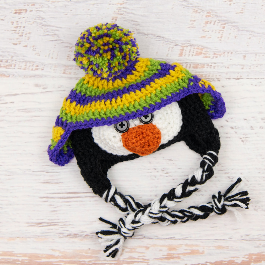 In-Stock 0-6 Month Penguin Hat in Mustard, Fern and Electric Purple