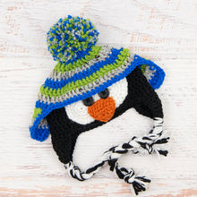 Load image into Gallery viewer, In-Stock 0-6 Month Penguin Hat in Grey Marble, Fern and Electric Blue