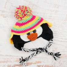Load image into Gallery viewer, In-Stock 0-6 Month Penguin Hat in Mint, Rose Shocking & Lemon