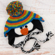 Load image into Gallery viewer, In-Stock 0-6 Month Penguin Hat in Sapphire, Orange & Fern