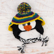 Load image into Gallery viewer, In-Stock 0-6 Month Penguin Hat in Peacock, Eggplant and Mustard