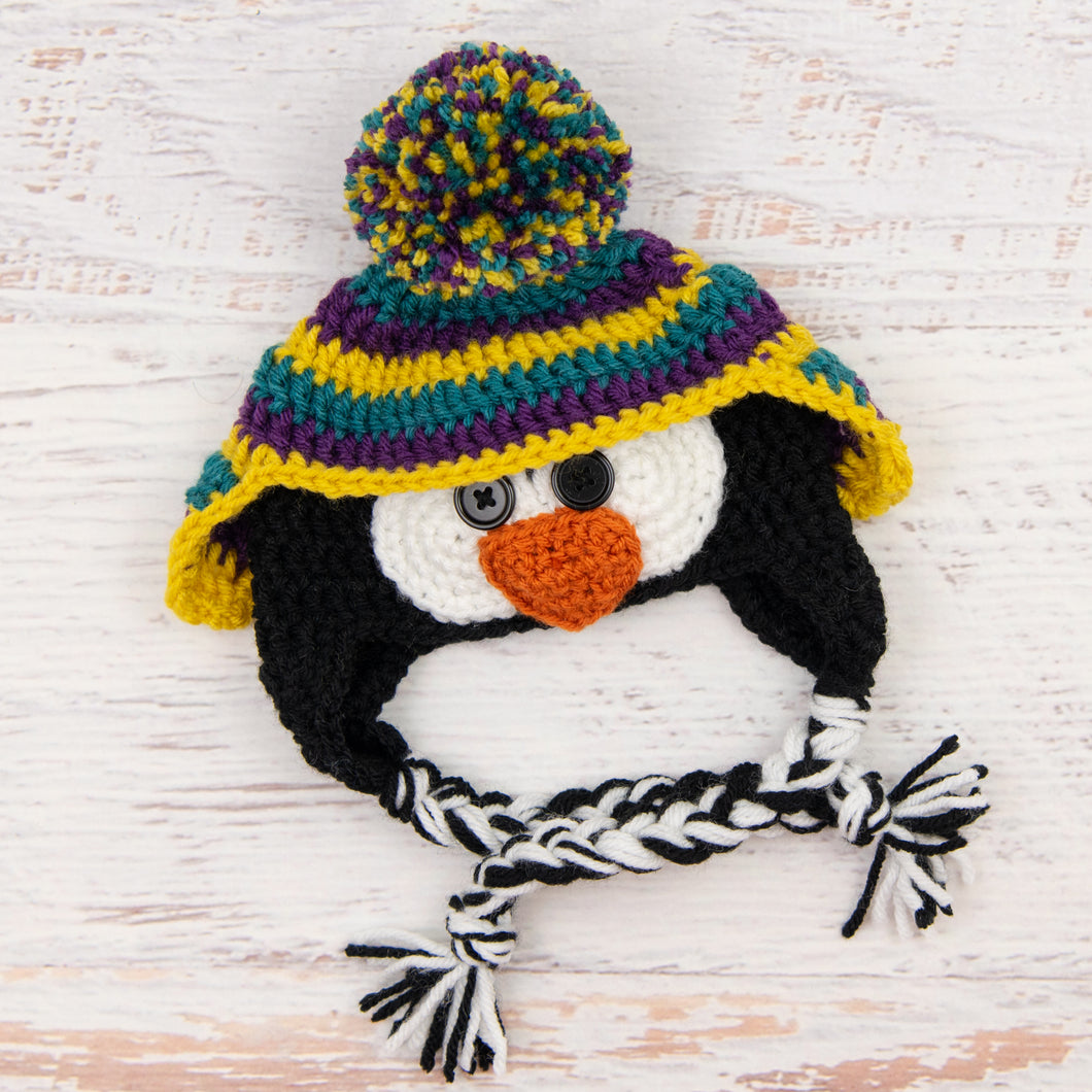 In-Stock 0-6 Month Penguin Hat in Peacock, Eggplant and Mustard