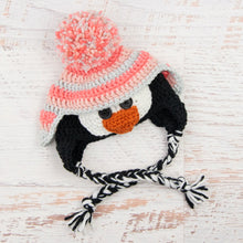 Load image into Gallery viewer, In-Stock 0-6 Month Penguin Hat in Pink Grapefruit, Pink & Linen