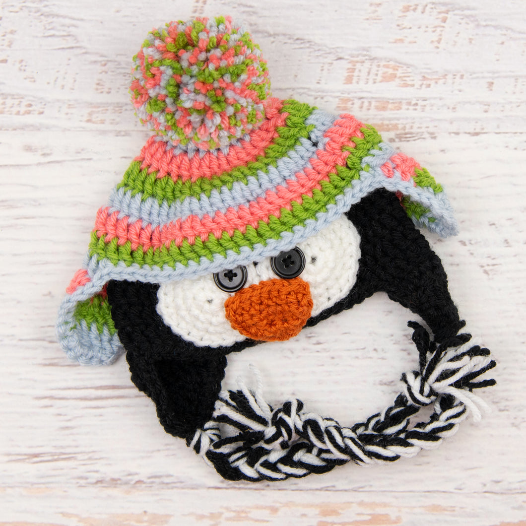 In-Stock 0-6 Month Penguin Hat in Fern, Pink Grapefruit and Silver Blue