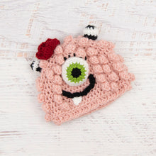 Load image into Gallery viewer, In-Stock 0-6 Month Little Monster in Pink with Fern Eye and Cranberry Flower
