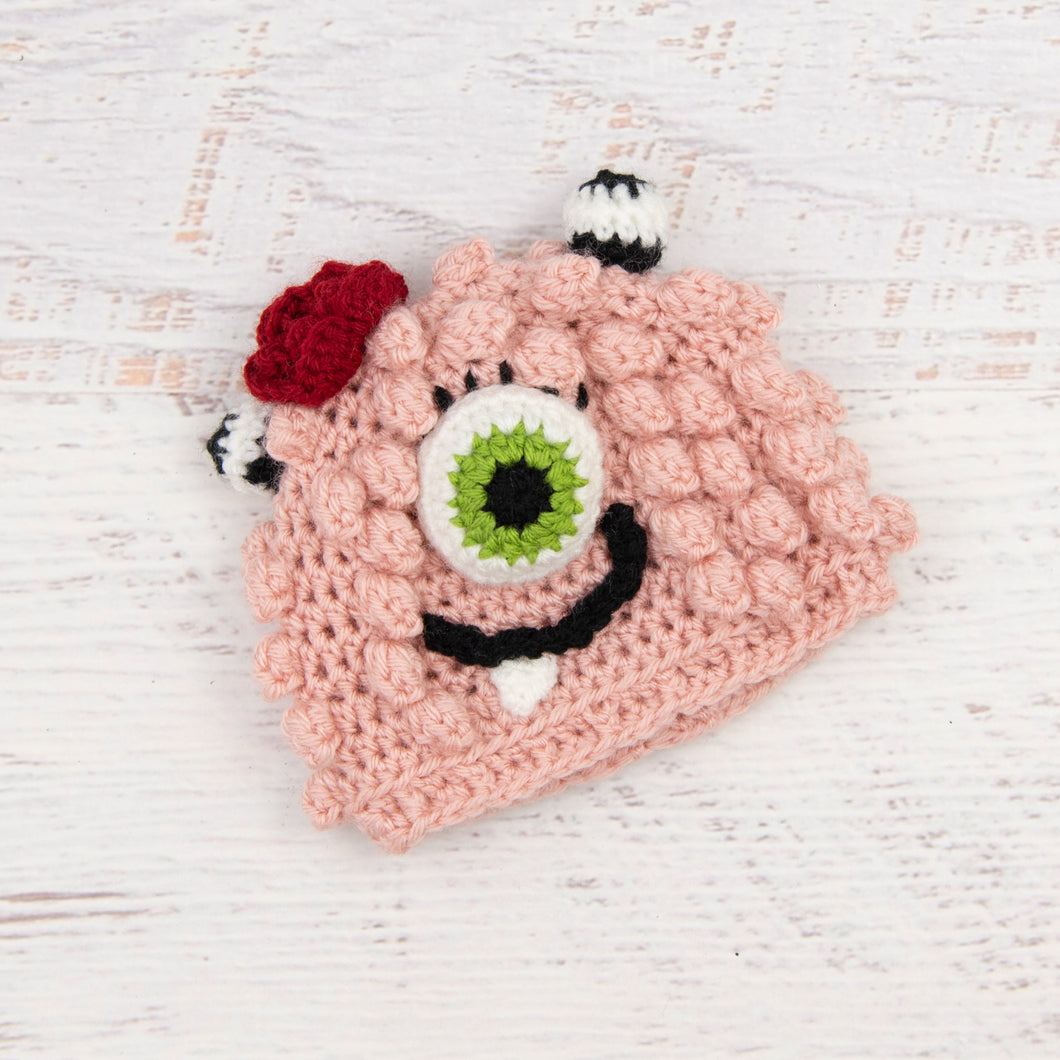In-Stock 0-6 Month Little Monster in Pink with Fern Eye and Cranberry Flower