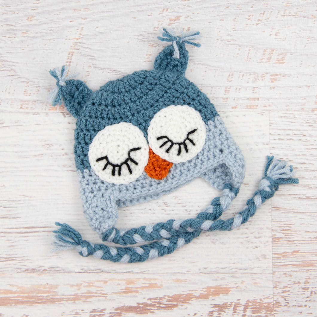 In-Stock 0-6 Month Sleepy Owl in Dusty Blue & Silver Blue