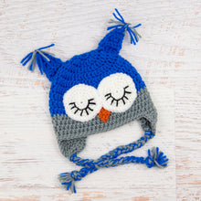 Load image into Gallery viewer, In-Stock 0-6 Month Sleepy Owl in Electric Blue with Silver Grey