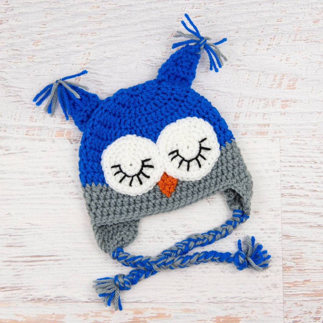 In-Stock 0-6 Month Sleepy Owl in Electric Blue with Silver Grey