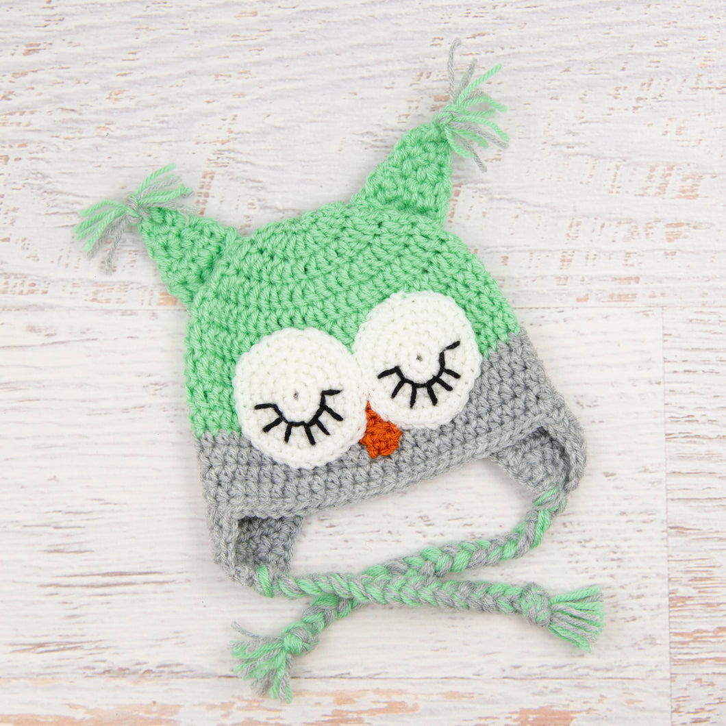 In-Stock 0-6 Month Sleepy Owl in Mint with Silver Heather