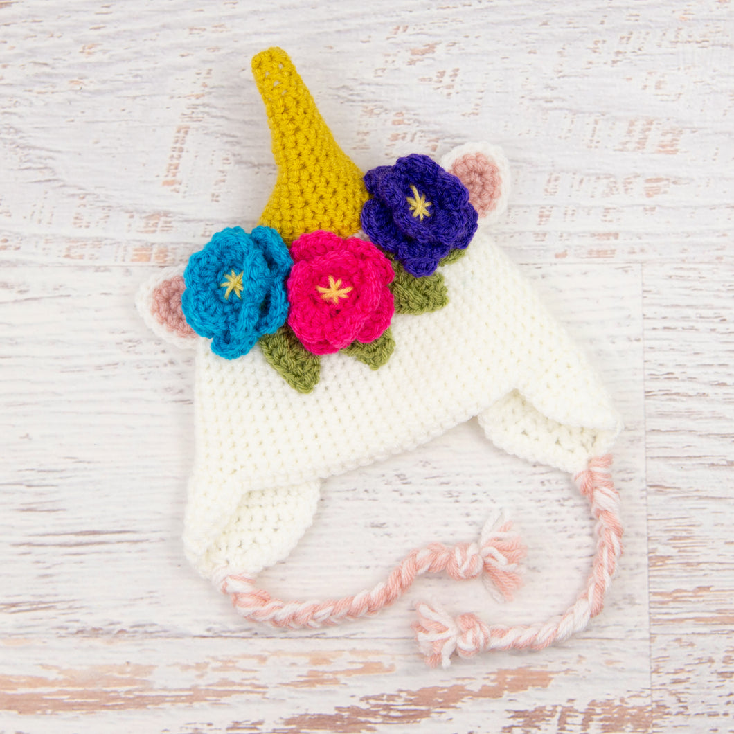 In-Stock 0-6 Month Unicorn Hat in White