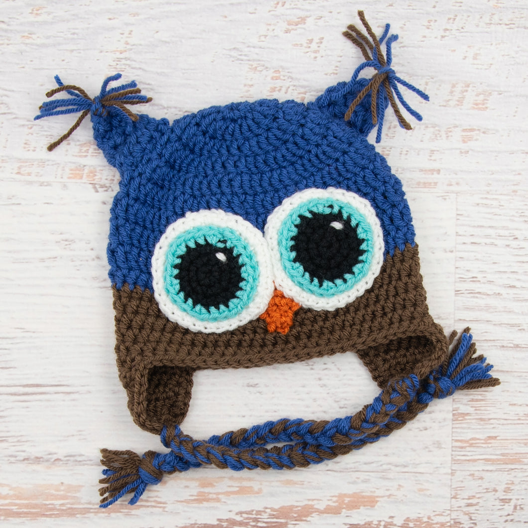 In-Stock 1-3 Year Owl in Colonial Blue with Chocolate and Aqua Marine Eyes