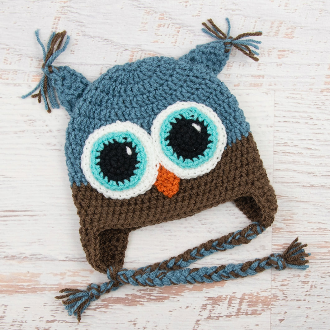 In-Stock 1-3 Year Owl in Dusty Blue with Chocolate with Aqua Marine Eye