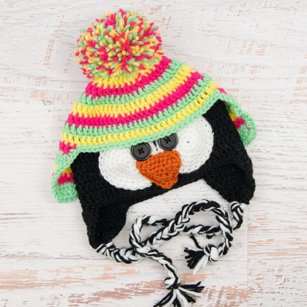 In-Stock 1-3 Year Penguin Hat in Rose Shocking, Lemon & Mint