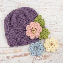 Load image into Gallery viewer, In-Stock 1-3 Year Waffle Beanie in Dusty Purple with 3 Interchangeable Flowers
