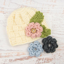 Load image into Gallery viewer, In-Stock 1-3 Year Waffle Beanie in Fisherman with 3 Interchangeable Flowers