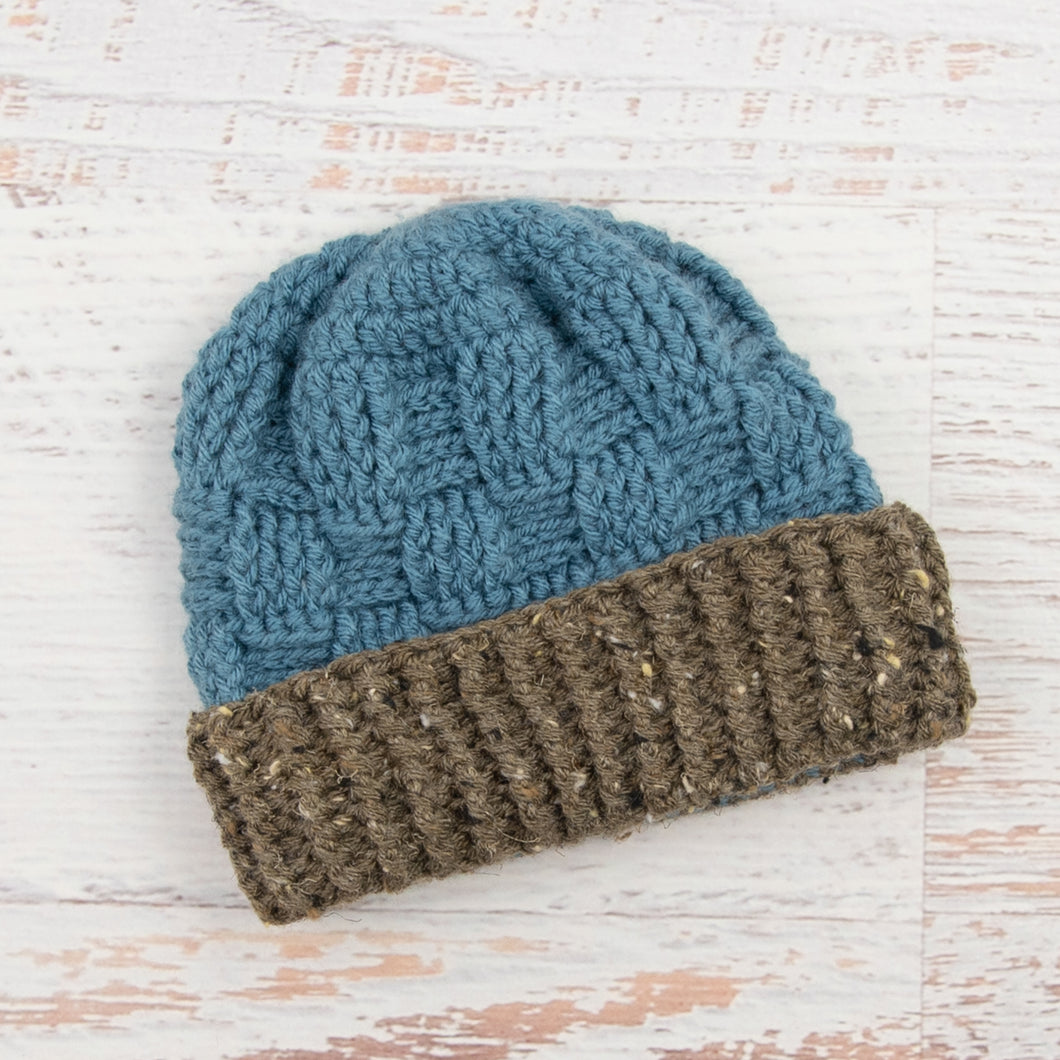 In-Stock 1-3 Year Ribbed Waffle Beanie in Dusty Blue with Barley