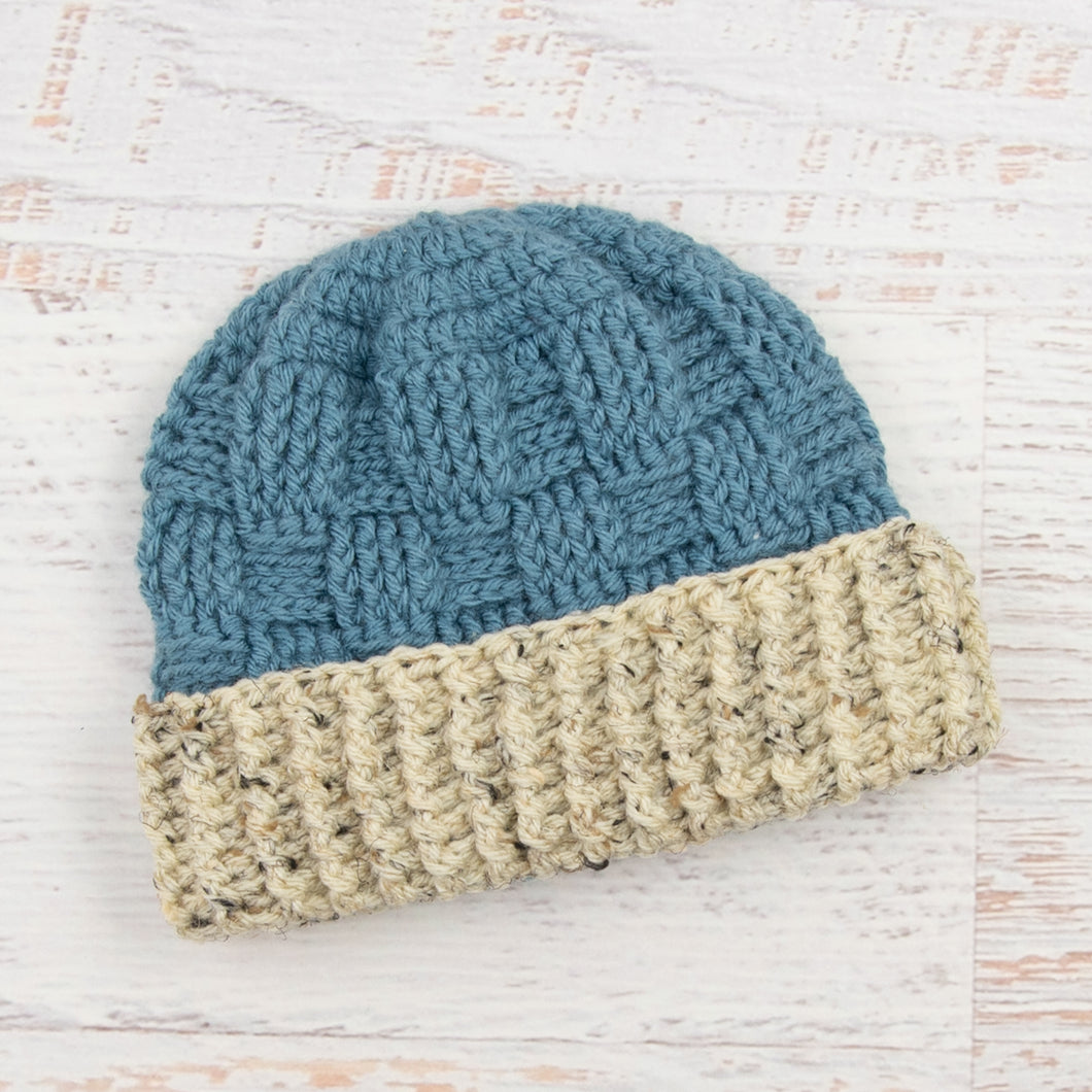In-Stock 1-3 Year Ribbed Waffle Beanie in Dusty Blue with Oatmeal