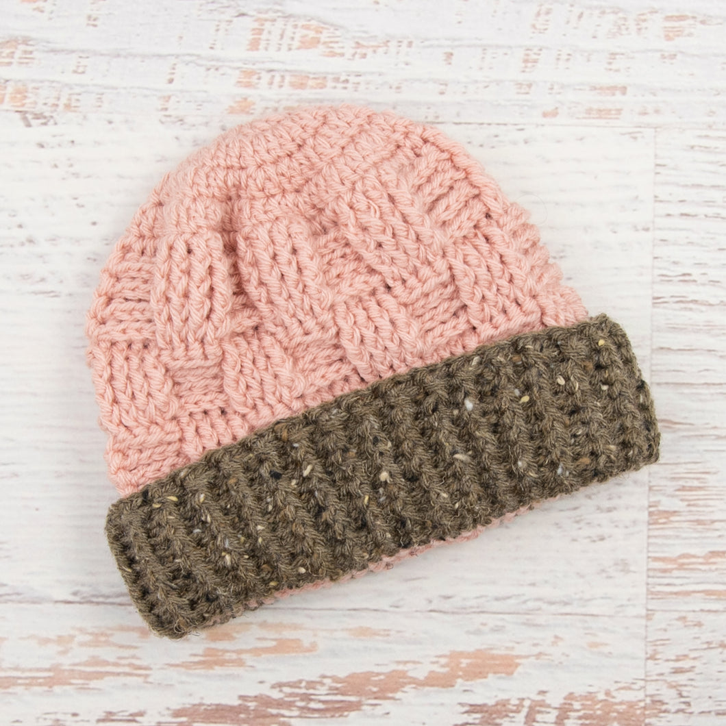 In-Stock 1-3 Year Ribbed Waffle Beanie in Pink with Barley