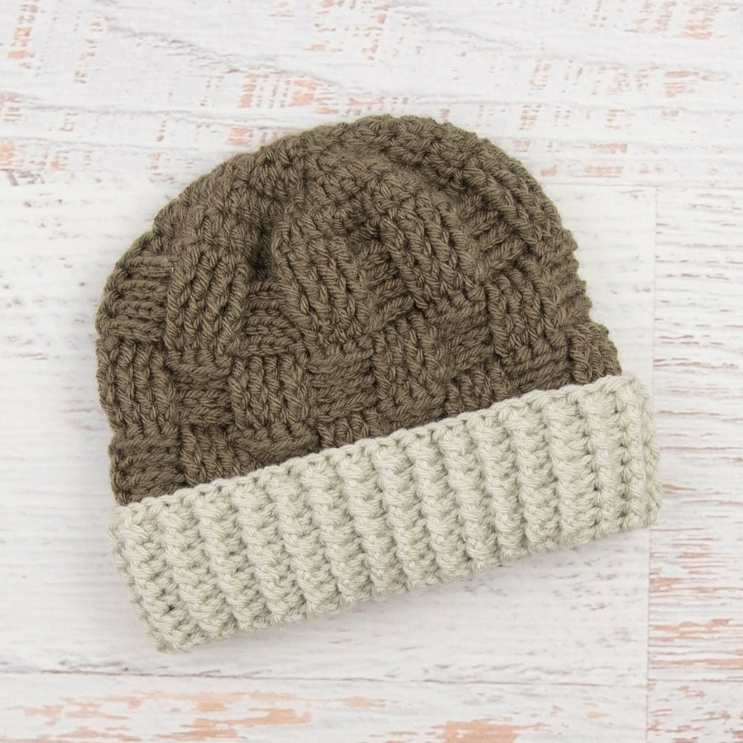 In-Stock 1-3 Year Ribbed Waffle Beanie in Taupe with Linen