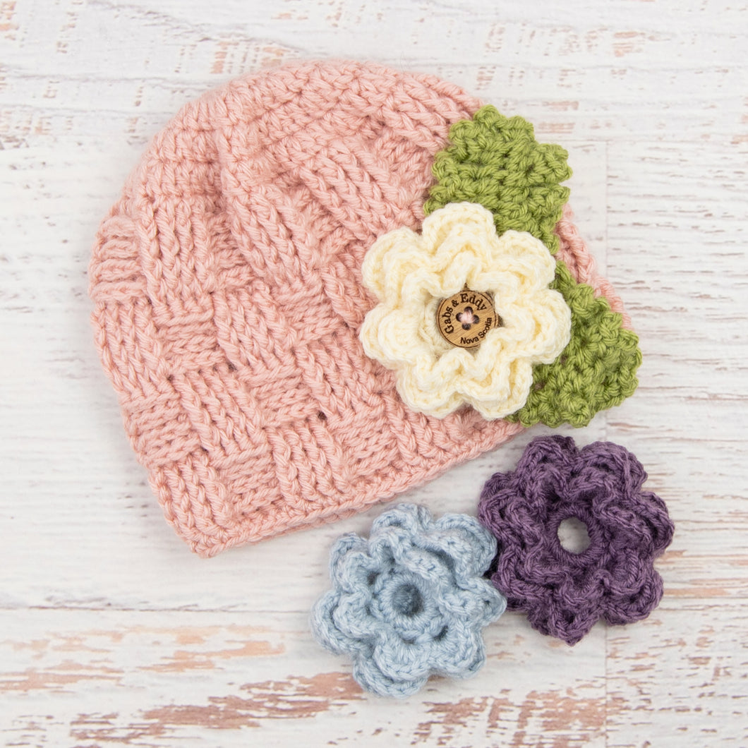 In-Stock 1-3 Year Waffle Beanie in Pink with 3 Interchangeable Flowers