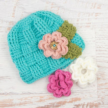 Load image into Gallery viewer, In-Stock 5-10 Year Waffle Beanie in Aqua Marine with 3 Interchangeable Flowers