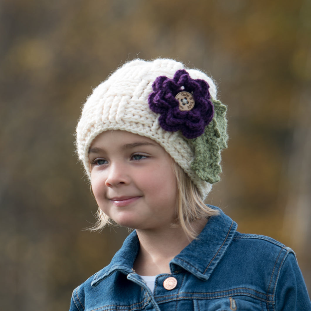Children's Waffle Beanie with 3 Interchangeable Flowers