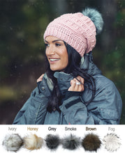 Load image into Gallery viewer, Slouchy Puff Stitch Toque with Faux Fur Pom Pom