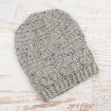 Load image into Gallery viewer, In-Stock 3-10 Year Cabled Slouchy Toque in Grey Marble