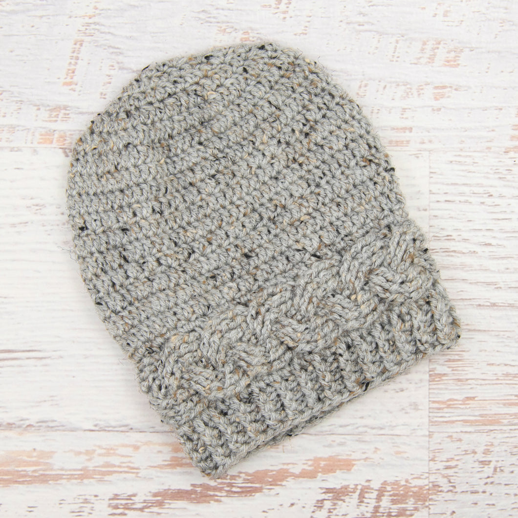 In-Stock 3-10 Year Cabled Slouchy Toque in Grey Marble