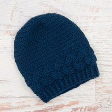 Load image into Gallery viewer, In-Stock 3-10 Year Cabled Slouchy Toque in Midnight Blue
