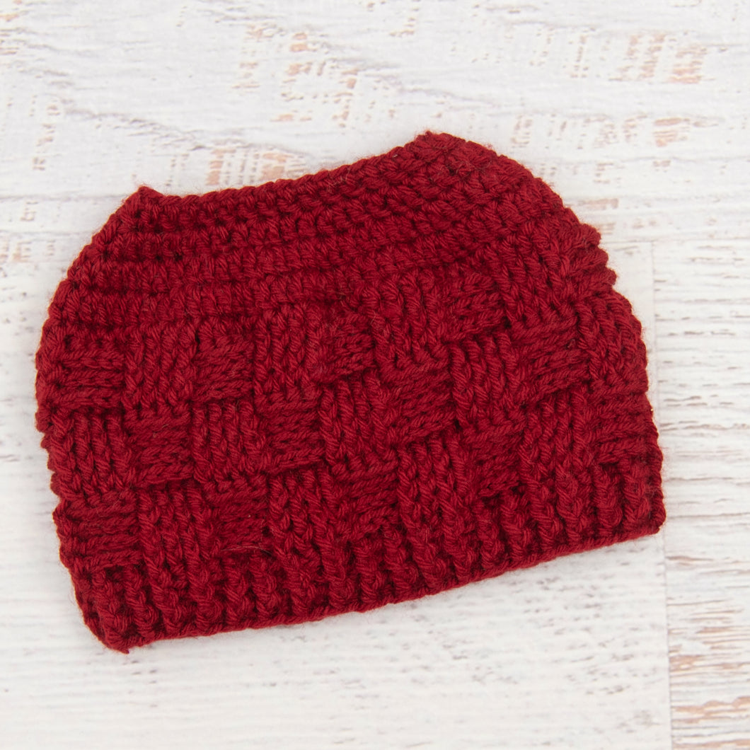 In-Stock 3-10 Year The 'Everyday' Messy Bun Hat in Cranberry