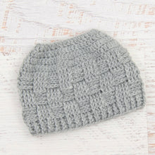 Load image into Gallery viewer, In-Stock 3-10 Year The 'Everyday' Messy Bun Hat in Silver Heather