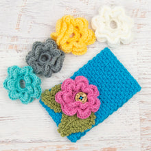 Load image into Gallery viewer, In-Stock 3-10 Year Garden Party Headband in Aqua with 5 Interchangeable Flowers