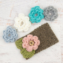 Load image into Gallery viewer, In-Stock 3-10 Year Garden Party Headband in Barley with 5 Interchangeable Flowers