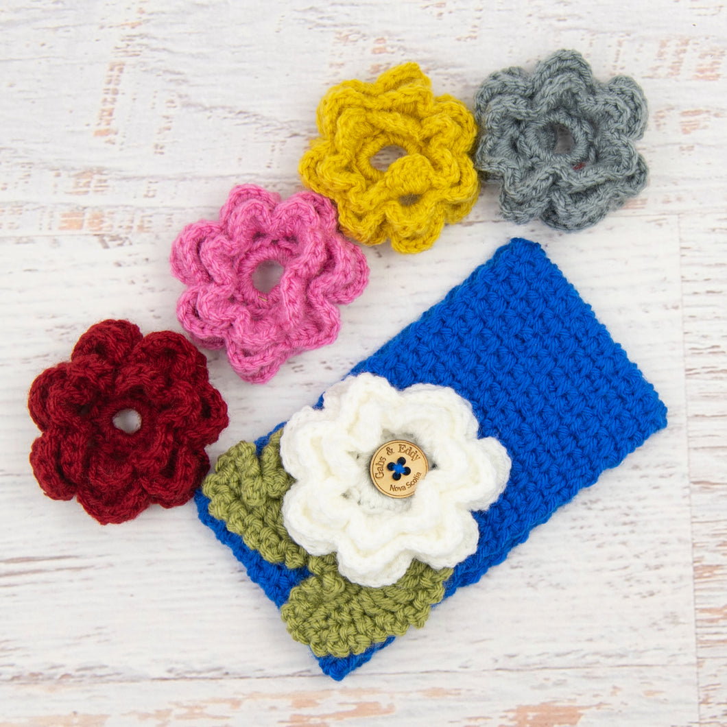 In-Stock 3-10 Year Garden Party Headband in Electric Blue with 5 Interchangeable Flowers