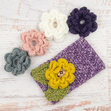 Load image into Gallery viewer, In-Stock 3-10 Year Garden Party Headband in Purple Mist with 5 Interchangeable Flowers