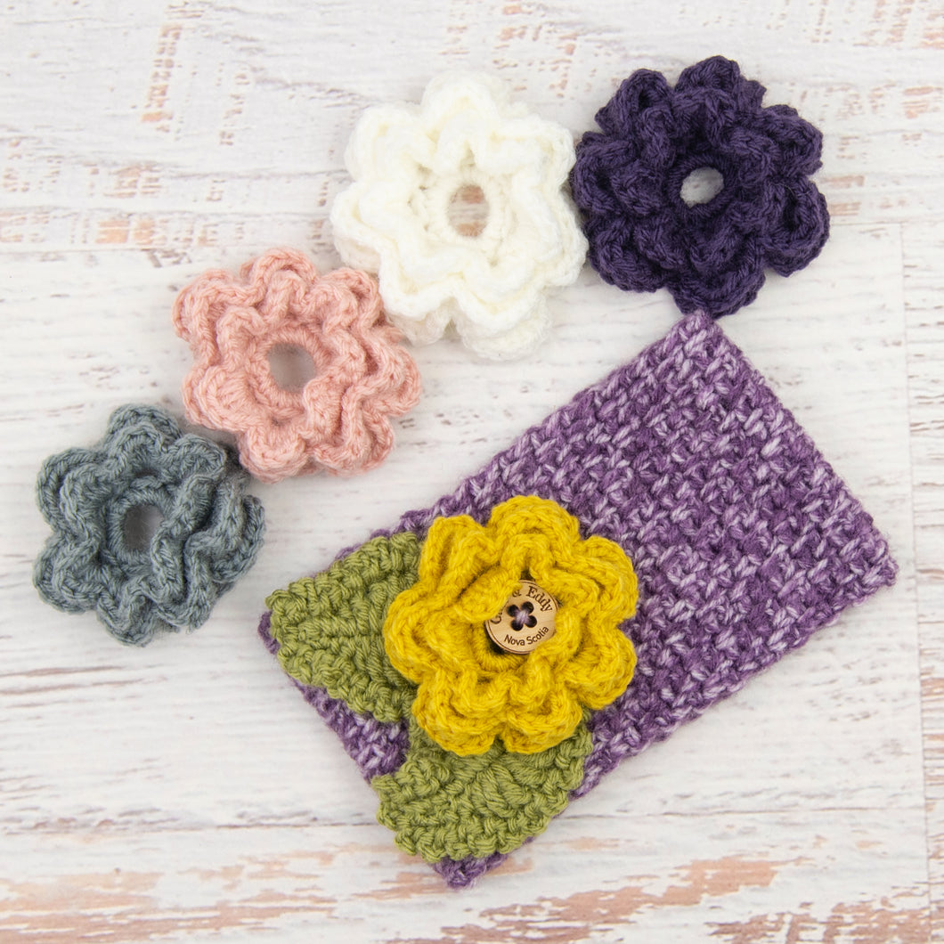 In-Stock 3-10 Year Garden Party Headband in Purple Mist with 5 Interchangeable Flowers