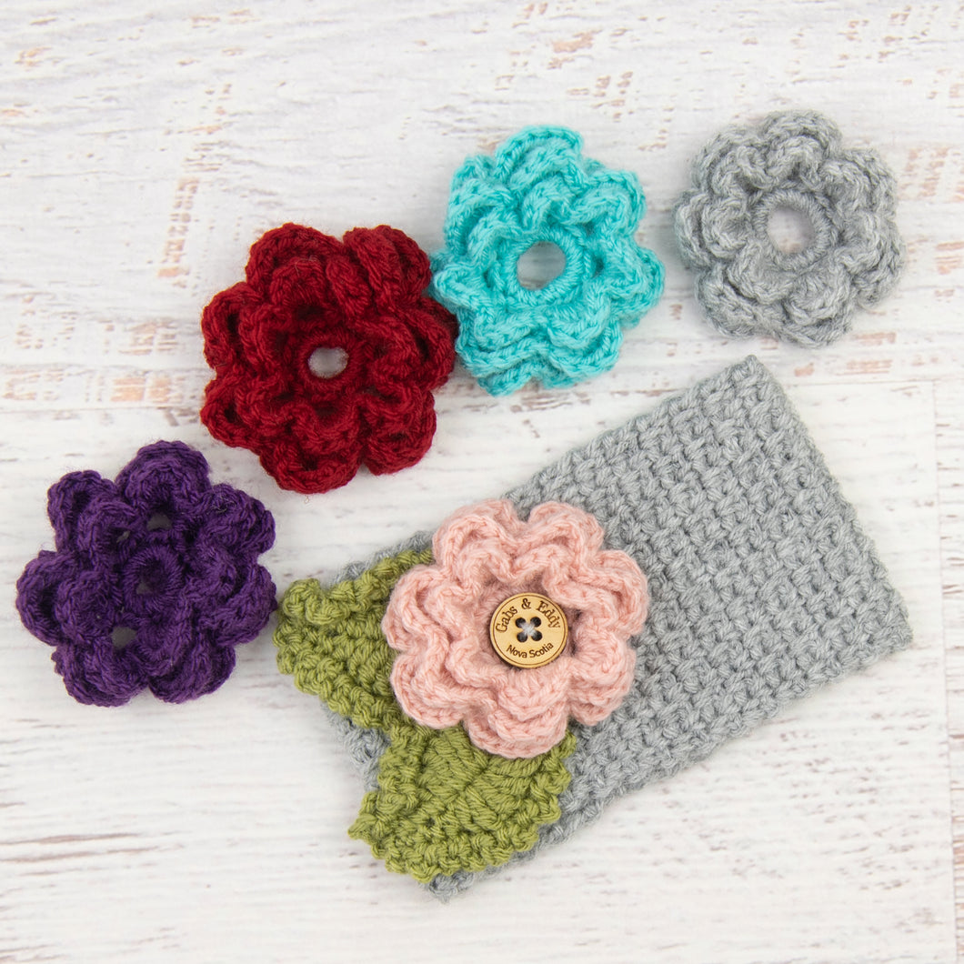 In-Stock 3-10 Year Garden Party Headband in Silver Heather with 5 Interchangeable Flowers