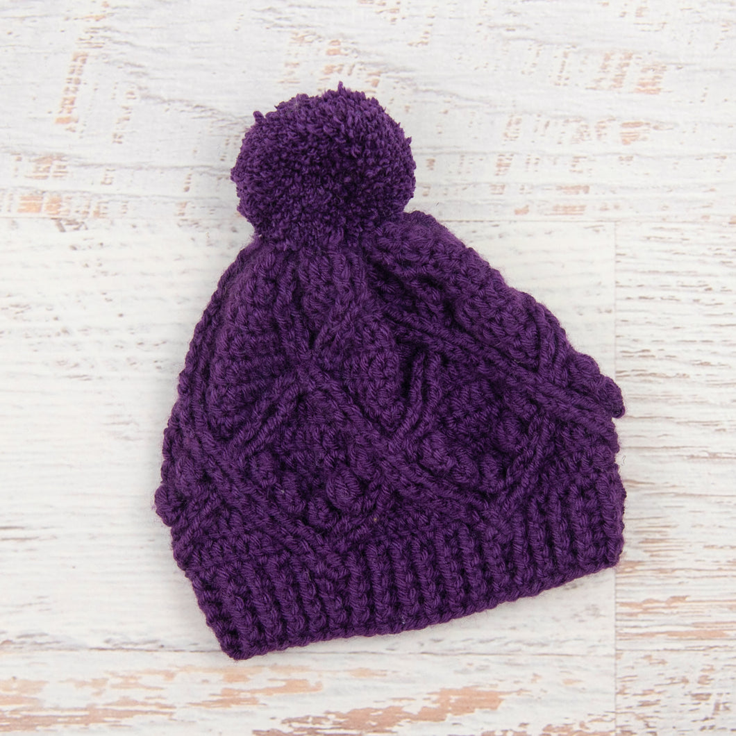 In-Stock 3-5 Year Pretty Little Pom Pom Toque in Eggplant