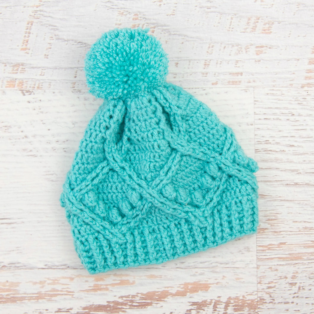In-Stock 3-5 Year Pretty Little Pom Pom Toque in Aqua Marine